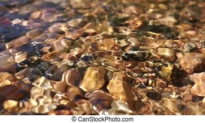 crystal clear water in a mountain stones riverbed