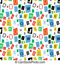 Colorful newspaper letters, seamless pattern - Colorful...