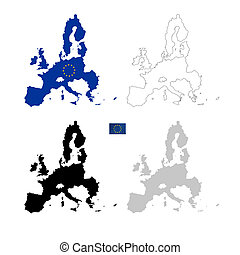 European Union black silhouette isolated on white