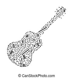 Guitar silhouette made up from music notes on white - Guitar...