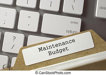 Card Index Maintenance Budget. 3D. - Maintenance Budget...