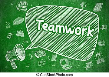 Teamwork - Cartoon Illustration on Green Chalkboard.