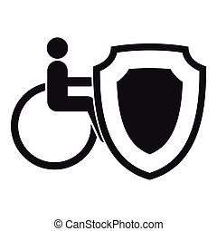 Wheelchair and safety shield icon, simple style - icon....