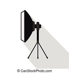 Studio light bulb in softbox icon, flat style - Studio light...