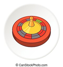 Roulette icon, cartoon style - Roulette icon. Cartoon...