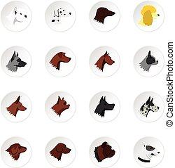 Dog head icons set, flat style