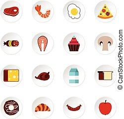 Food icons set, flat style - icons set. Flat illustration of...