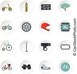 Bicycling icons set, flat style