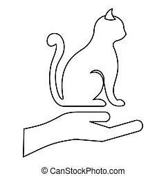 Protecting cat icon, outline style - Protecting cat icon....