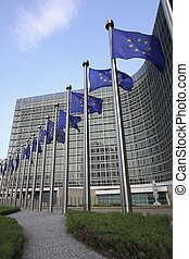 European flags in Brussels in front of the headquarters of...