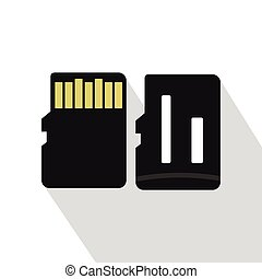 SD memory cards icon, flat style - SD memory cards icon....
