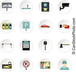 Parking icons set, flat style - icons set. Flat illustration...