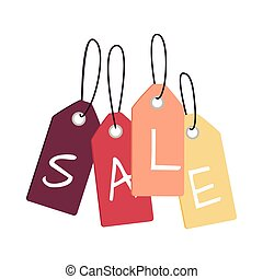 Set of Sale Tags with Word Sale. Discount Poster