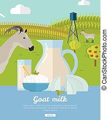 Goat Dairy. Milk Farm Concept Banner Vector - Goat milk....