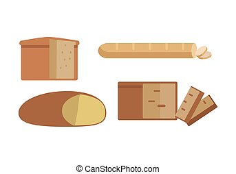 Set of Different Types of Bread Illustration.