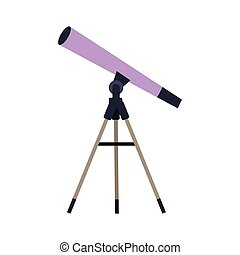 Telescope Vector Illustration in Flat Style Design Web -...