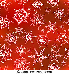 Many icy snowflakes on red, christmas seamless pattern -...
