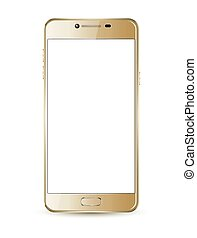 Gold smartphone mock-up. Vector realistic illustration.