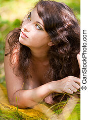 Beautiful lady outdoor - Close up portrait of a beautiful...