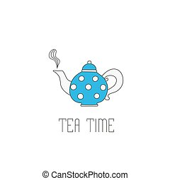 Polka dots teapot with tea on white background. Teatime text...
