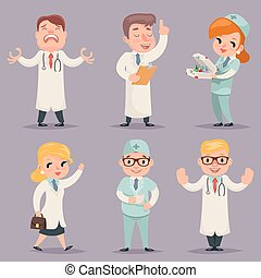 Doctor Different Positions and Actions Character Icons Set...