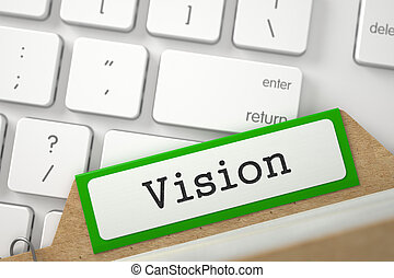 Card File with Vision. 3D. - Green Card File with...