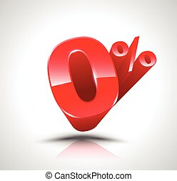 Red zero percent or 0 %