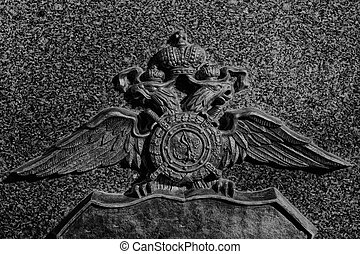 monochrome headed eagle coat of arms - urban landscape with...