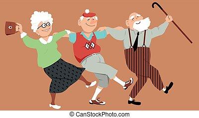 Happy seniors dancing