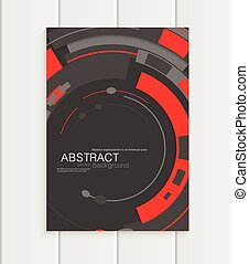 Vector brochure in abstract style with red shapes on dark background