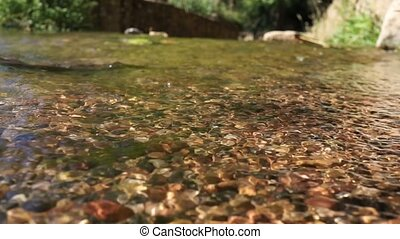 crystal clear water in a mountain stones riverbed - clear...