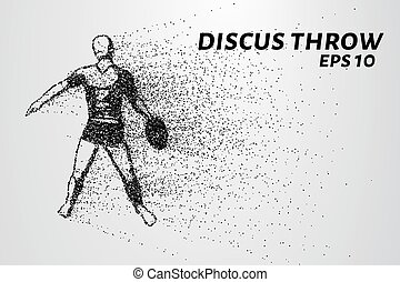 Throwing discus from the particles. The throwing of the discus of dots and circles. Throwing the discus into smaller molecules. Vector illustration