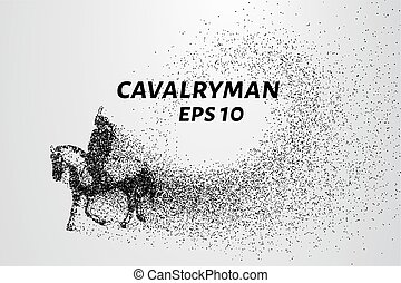 Cavalryman of the particles. A cavalryman on a horse. The...