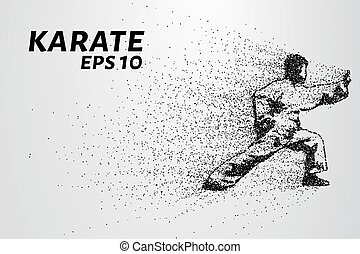 Karate of particles. Karate of dots and circles. Karate breaks down into smaller molecules. Vector illustration