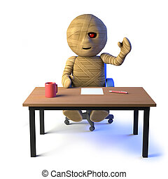 3d Egyptian mummy monster sits at his desk - 3d render of an...