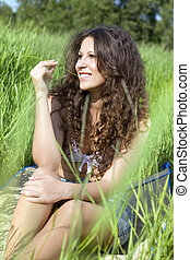 woman in green grass