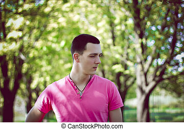 Attractive young man in the park