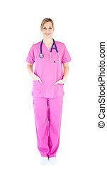 Positive young female surgeon wearing scrubs against white...