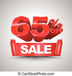 65 percent off sale red ribbon banner roll 3D style. Vector...