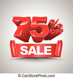 75 percent off sale red ribbon banner roll 3D style. Vector...