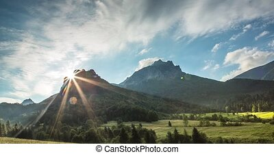 Coniferous forest and rocky hill, Slovakia - Coniferous...