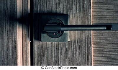 Opening modern interior door, dark background. Unknown and...