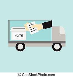 Voting concept. Car Announces Voting on road