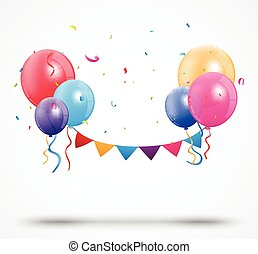 Balloon with confetti and birthday