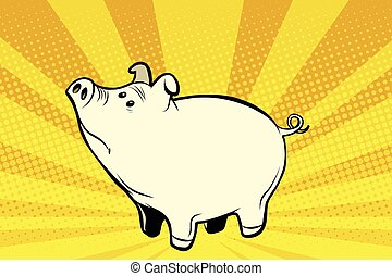 Funny cute pig pop art illustration - Funny cute pig, pop...