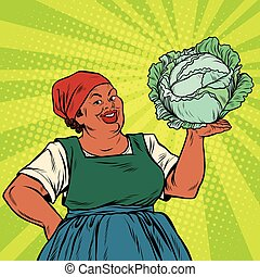 Retro old African-American woman with a head of cabbage, pop...