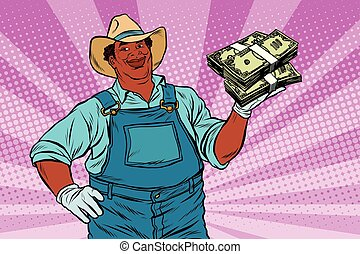 African American farmer with a bundle of money