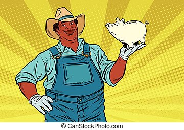 African American farmer with a pig-piggy Bank