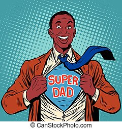 African American joyful super dad, pop art retro vector...