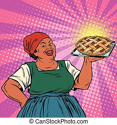 Retro old female African-American berry pie, pop art retro...
